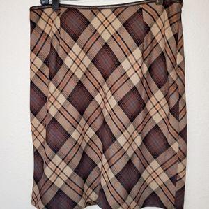 Lane Bryant Venezia Vintage plaid skirt 14 brown